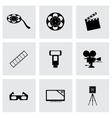 black cinema icons set vector image vector image