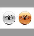 black line pet food bowl for cat or dog icon vector image vector image