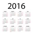 calendar for 2016 vector image vector image
