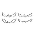 cartoon flying angel wings isolated signatures vector image vector image
