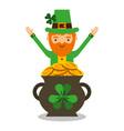 cartoon leprechaun with pot golden coins treasure vector image