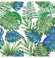 chameleon blue and green tropical leaves seamless vector image vector image
