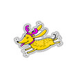 christmas cartoon character dog sticker doodle vector image