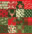 christmas clip art elements patchwork wallpaper vector image vector image