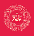 christmas sale wreath poster vector image vector image