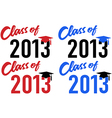 Class of 2013 school graduation date cap vector image