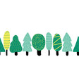 colorful trees seamless border repeating vector image