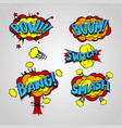 comic book cartoon explosion set bang boom vector image vector image
