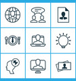 corporate icons set with problem solving vector image