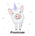 cute piggycorn pig with magic horn vector image