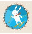 Cute white rabbit skiing vector image vector image