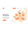 development way isometric landing page vector image