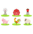 different farm elements set farm animals wind vector image vector image