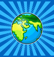 earth globe comic book style vector image