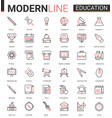 education flat thin red black line icon vector image vector image