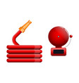 emergency icon red fire alarm system and fire vector image