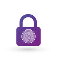 finger print on padlock icon isolated on white vector image