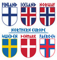 flags nordic countries scandinavia norway vector image