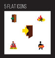 flat icon emergency set of emergency exit vector image vector image