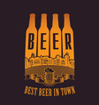 four beer bottles with inscription in the old town vector image vector image