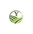 green project solution center initial y vector image vector image