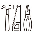 hammer saw and pliers tools icon vector image vector image