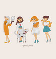 Hand drawn girls characters with cute pets as dog