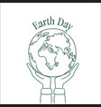 hand holding sketch planet earth day greeting vector image vector image