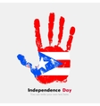 Handprint with the Flag of Puerto Rico in grunge vector image