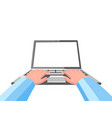 hands on laptop vector image