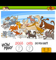 how many dogs and cats activity game vector image vector image