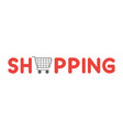 icon concept shopping word with shopping cart vector image vector image