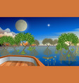 landscape mangove forest on beach in sunset vector image vector image
