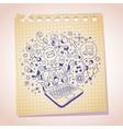 laptop concept note paper cartoon sketch vector image vector image