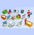 laundry isometric elements set vector image vector image