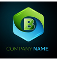 Letter B logo symbol in the colorful hexagonal on vector image vector image