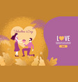 lovers holding flowers in an atmosphere love vector image
