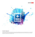 medical file icon - watercolor background vector image vector image