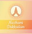 micchami dukkadam namaste hand wishes vector image vector image