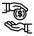 money coin corruption icon outline style vector image vector image