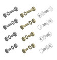 nuts bolts washers hardware isometric set vector image vector image