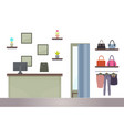 ounter in woman shopping store computer and racks vector image vector image