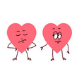 pair of hearts holding hands vector image vector image