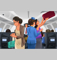 passengers lifting their carry-on luggage vector image