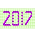 Purple numbers of year 2017 made from triangles vector image