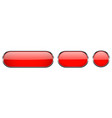 red glass buttons with chrome frame 3d icons vector image vector image