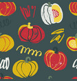 seamless pattern with hand drawn rough pumpkins vector image vector image