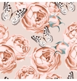 seamless peony roses and butterfly vector image vector image