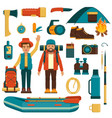 set camping fishing and hiking equipment vector image