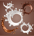 set of realistic splashes and drops of milk and vector image